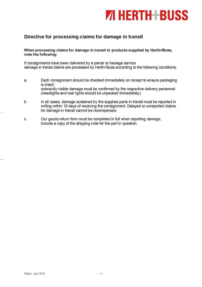Guideline - Directive for processing claims for damage in transit