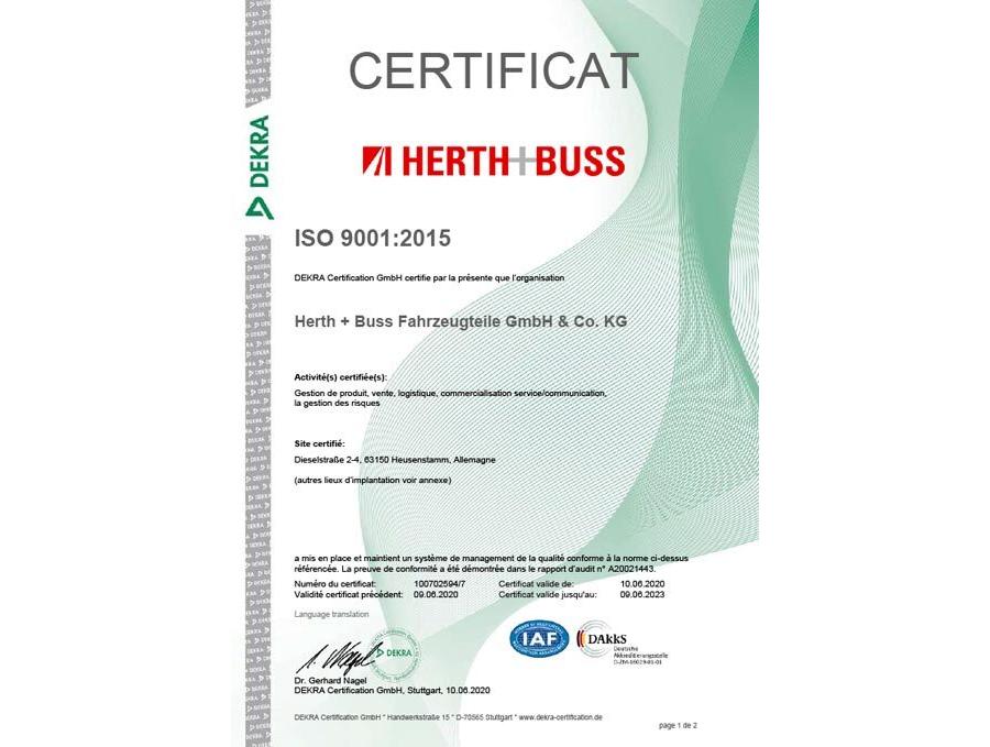 Certificat – ISO 9001 2015